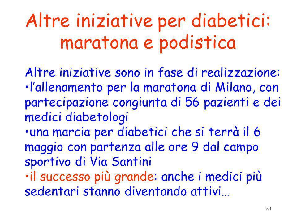 Altre iniziative per diabetici: