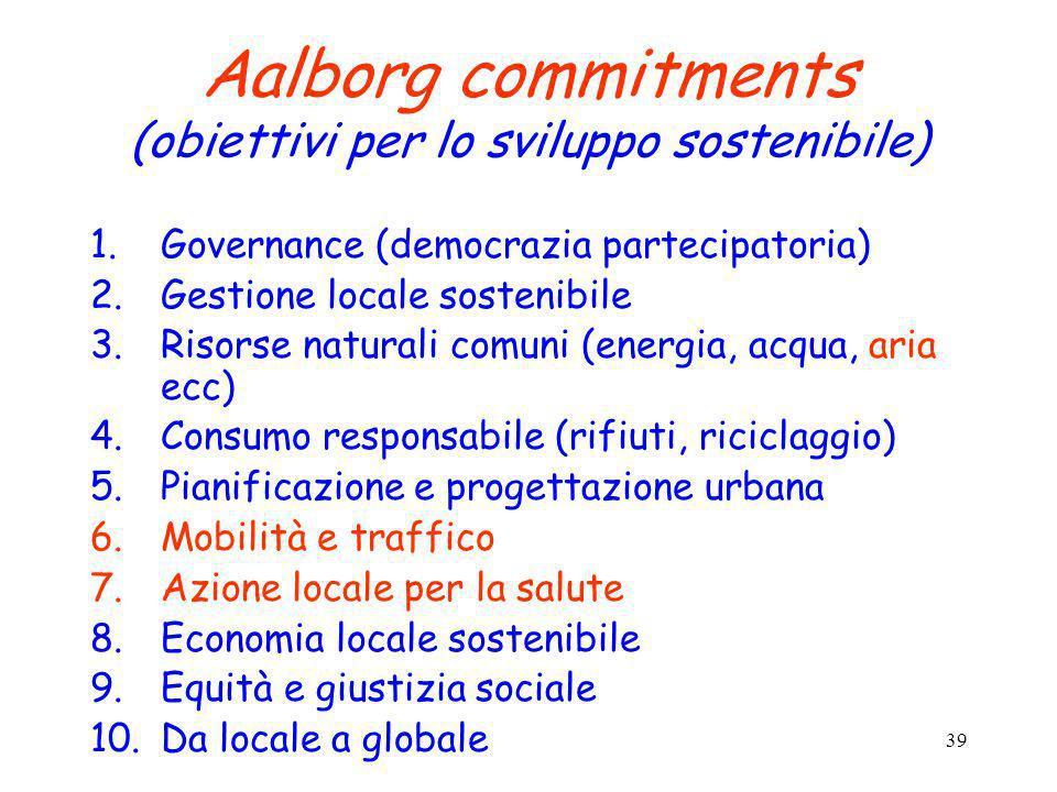 Aalborg commitments (obiettivi per lo sviluppo sostenibile)
