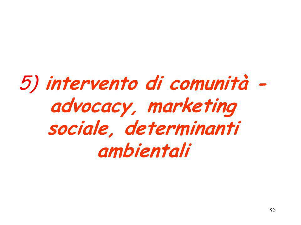 5) intervento di comunità - advocacy, marketing sociale, determinanti ambientali