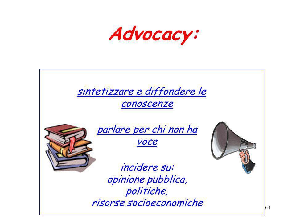Advocacy: sintetizzare e diffondere le conoscenze