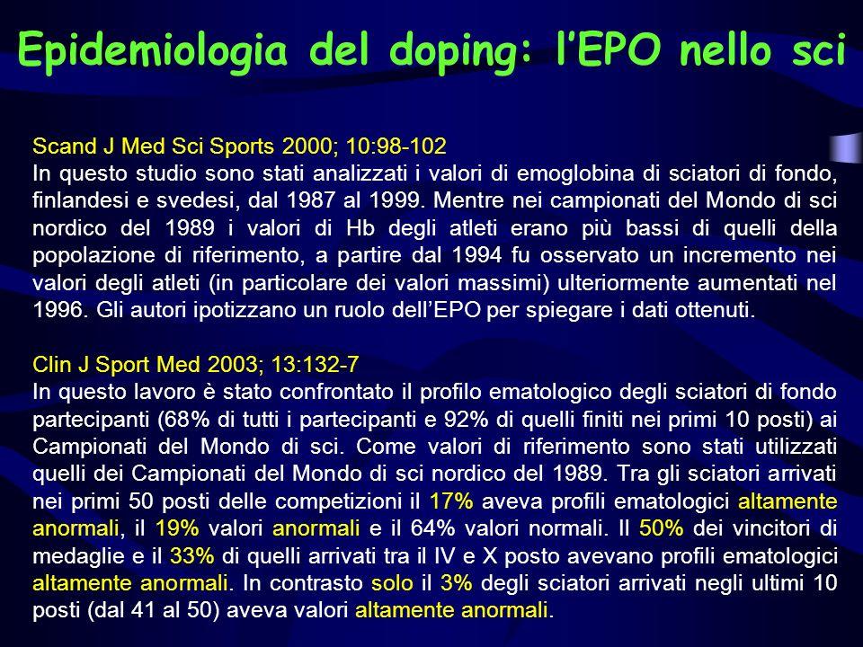 Epidemiologia del doping: l'EPO nello sci