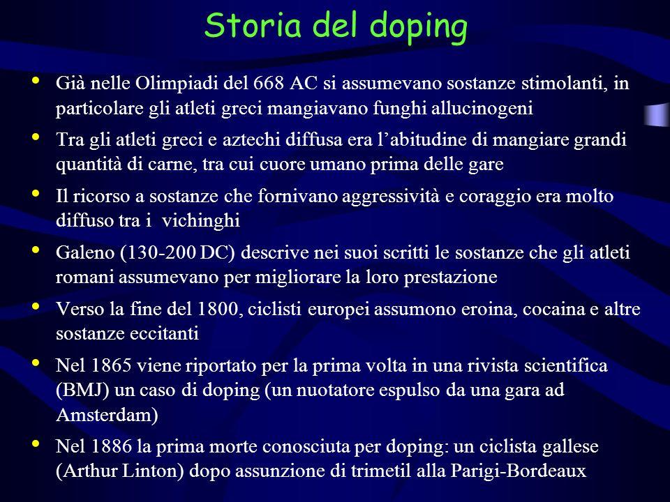 Storia del dopingGià nelle Olimpiadi del 668 AC si assumevano sostanze stimolanti, in particolare gli atleti greci mangiavano funghi allucinogeni.