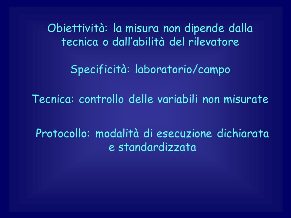 Specificità: laboratorio/campo