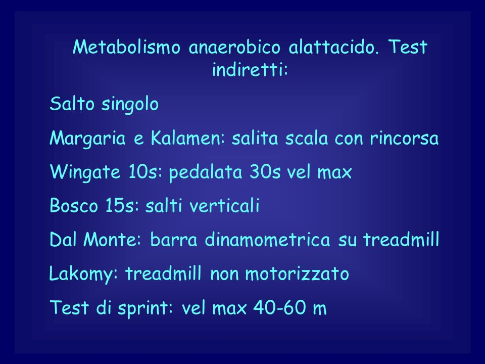 Metabolismo anaerobico alattacido. Test indiretti: