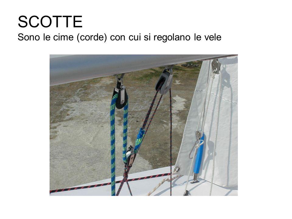 SCOTTE Sono le cime (corde) con cui si regolano le vele