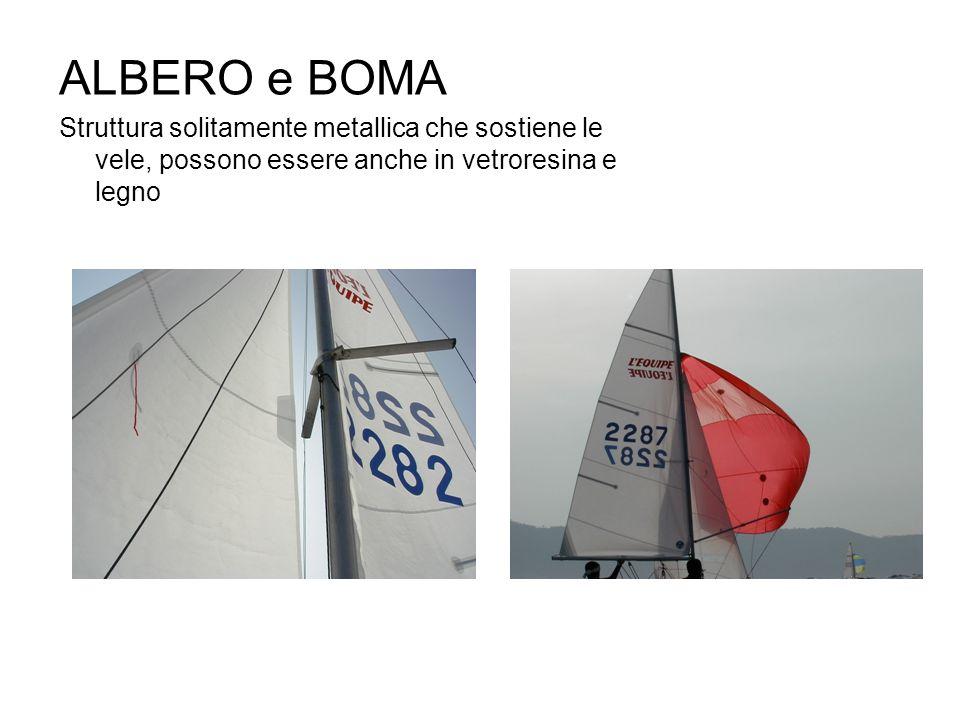 ALBERO e BOMA Struttura solitamente metallica che sostiene le vele, possono essere anche in vetroresina e legno.