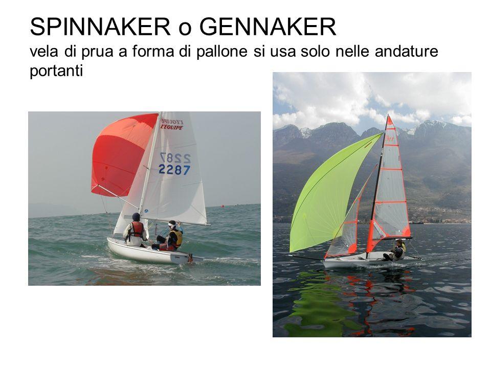 SPINNAKER o GENNAKER vela di prua a forma di pallone si usa solo nelle andature portanti