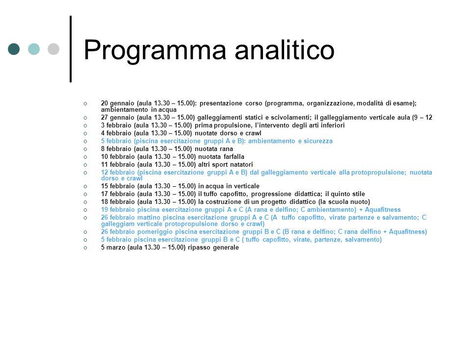 Programma analitico 20 gennaio (aula 13.30 – 15.00): presentazione corso (programma, organizzazione, modalità di esame); ambientamento in acqua.