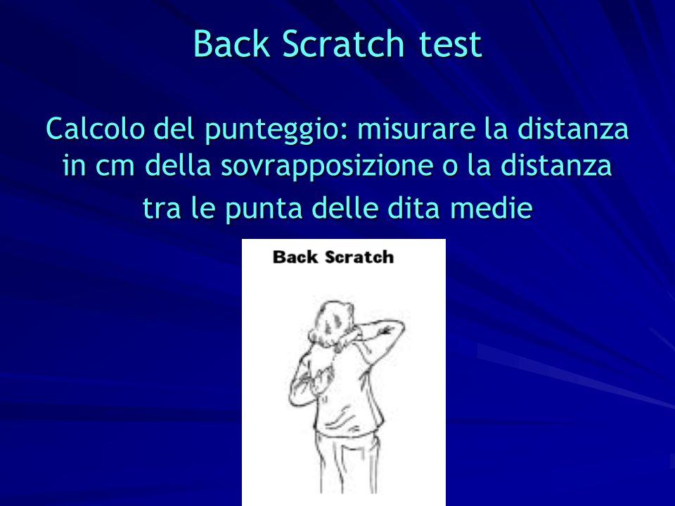 Back Scratch test Calcolo del punteggio: misurare la distanza in cm della sovrapposizione o la distanza tra le punta delle dita medie