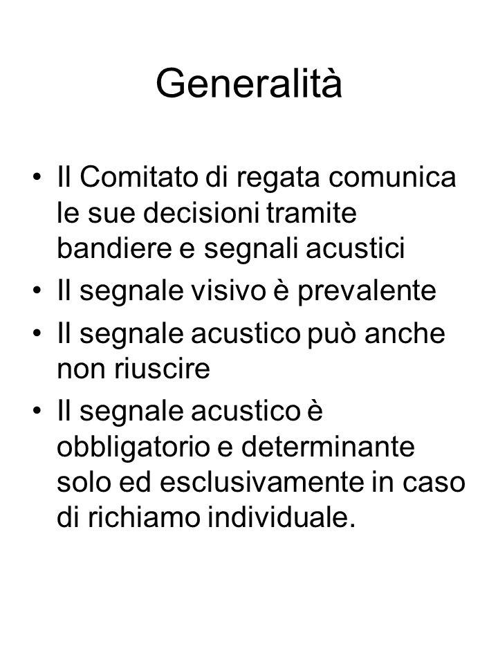 Generalità Il Comitato di regata comunica le sue decisioni tramite bandiere e segnali acustici. Il segnale visivo è prevalente.