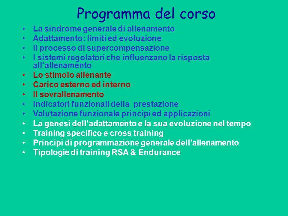 Programma del corso La sindrome generale di allenamento