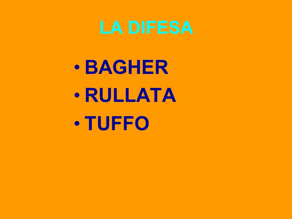 LA DIFESA BAGHER RULLATA TUFFO