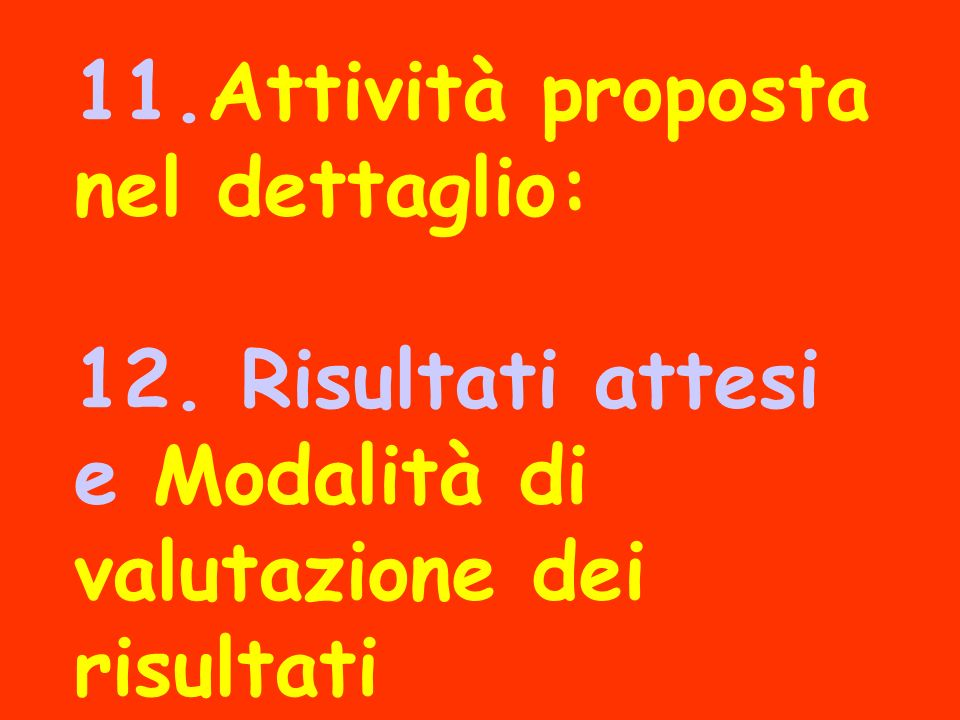 11. Attività proposta nel dettaglio: 12