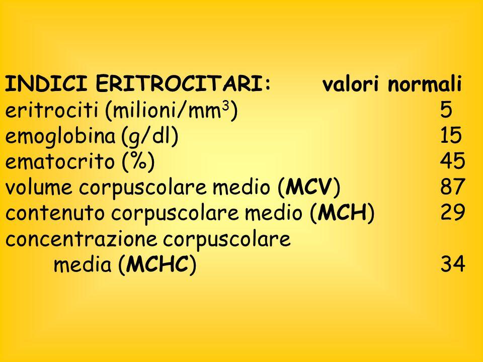 INDICI ERITROCITARI: valori normali