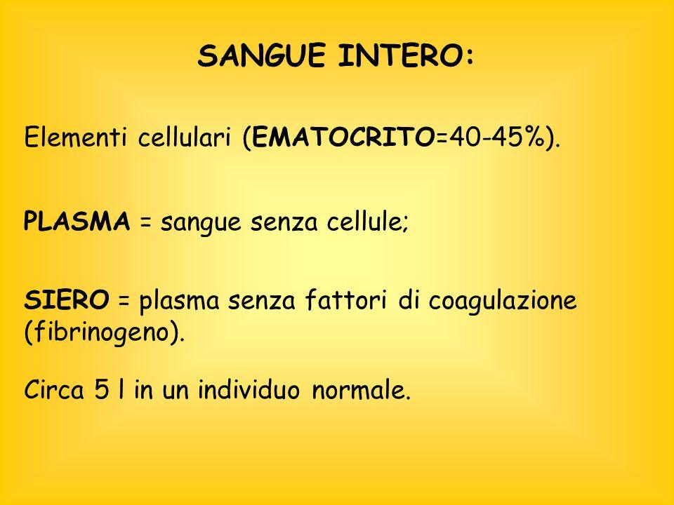SANGUE INTERO: Elementi cellulari (EMATOCRITO=40-45%).