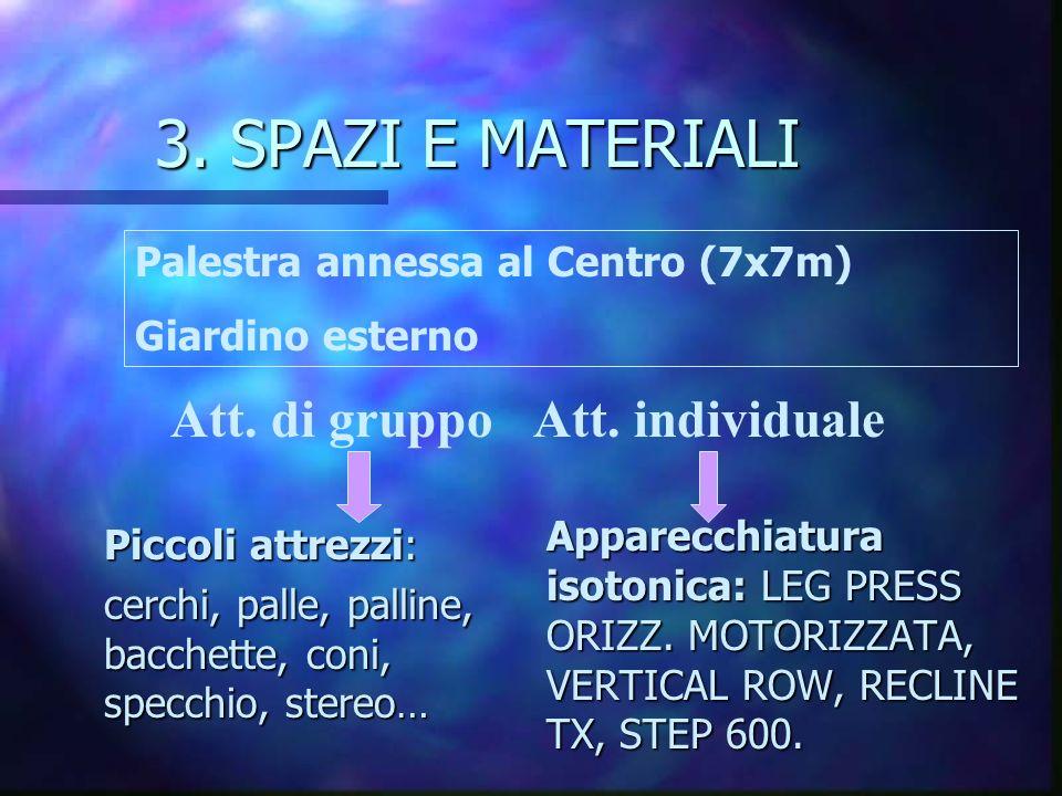 3. SPAZI E MATERIALI Att. di gruppo Att. individuale