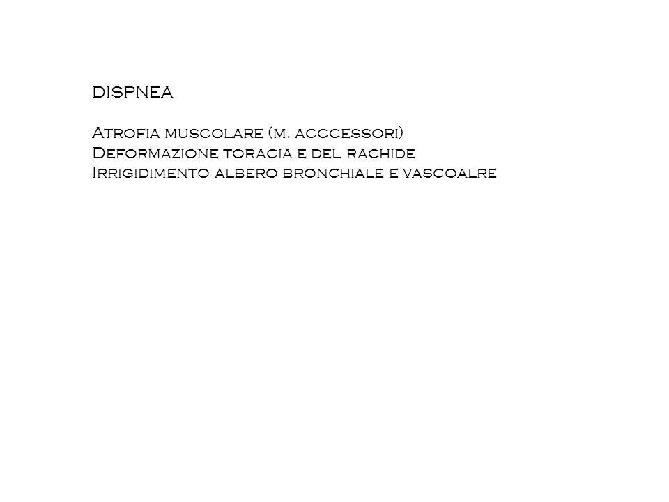 DISPNEA Atrofia muscolare (m. acccessori) Deformazione toracia e del rachide.