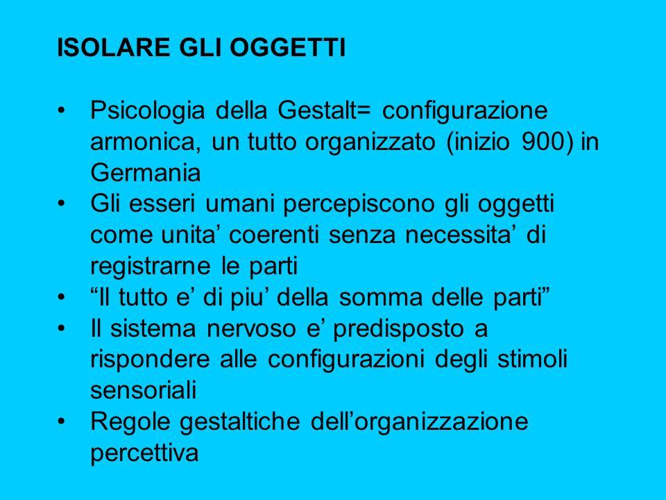 ISOLARE GLI OGGETTI Psicologia della Gestalt= configurazione armonica, un tutto organizzato (inizio 900) in Germania.