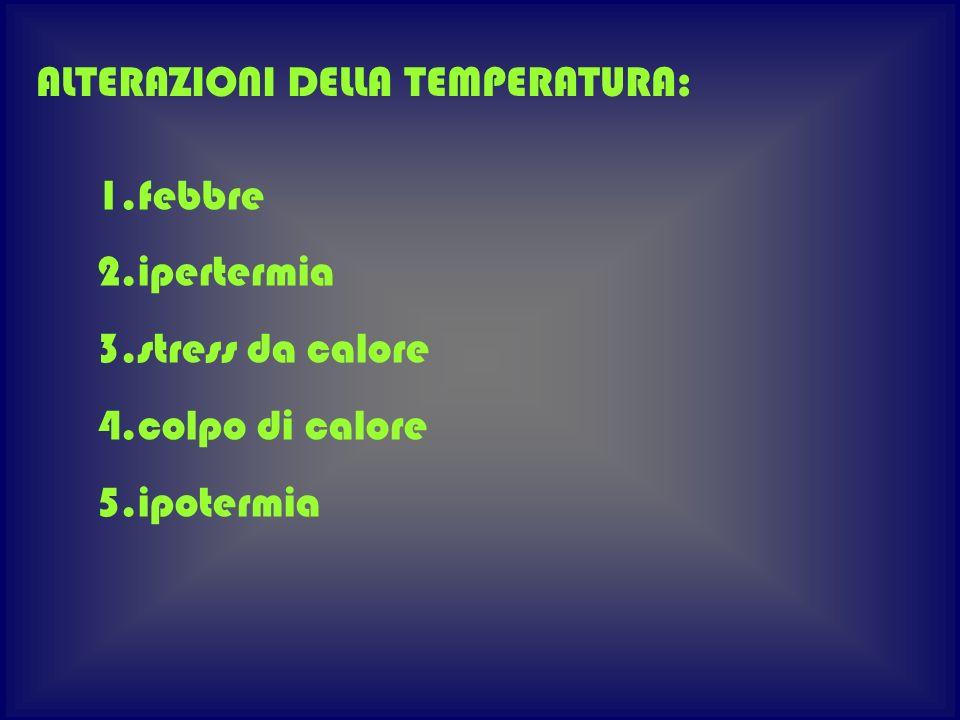 ALTERAZIONI DELLA TEMPERATURA: