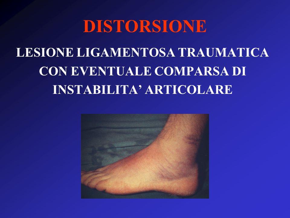 DISTORSIONE LESIONE LIGAMENTOSA TRAUMATICA CON EVENTUALE COMPARSA DI INSTABILITA' ARTICOLARE