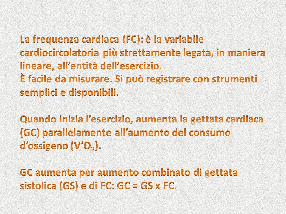 La frequenza cardiaca (FC): è la variabile cardiocircolatoria più strettamente legata, in maniera lineare, all'entità dell'esercizio.