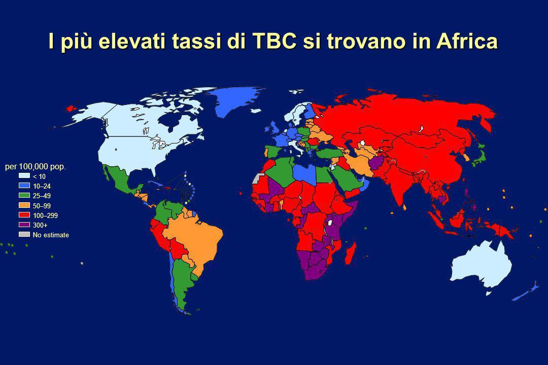 I più elevati tassi di TBC si trovano in Africa