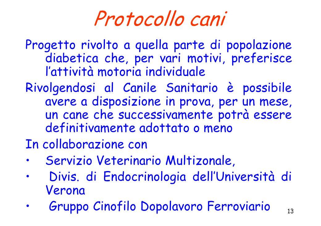 Protocollo cani Progetto rivolto a quella parte di popolazione diabetica che, per vari motivi, preferisce l'attività motoria individuale.