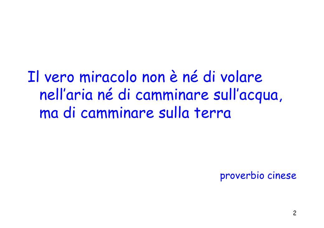 Il vero miracolo non è né di volare nell'aria né di camminare sull'acqua, ma di camminare sulla terra