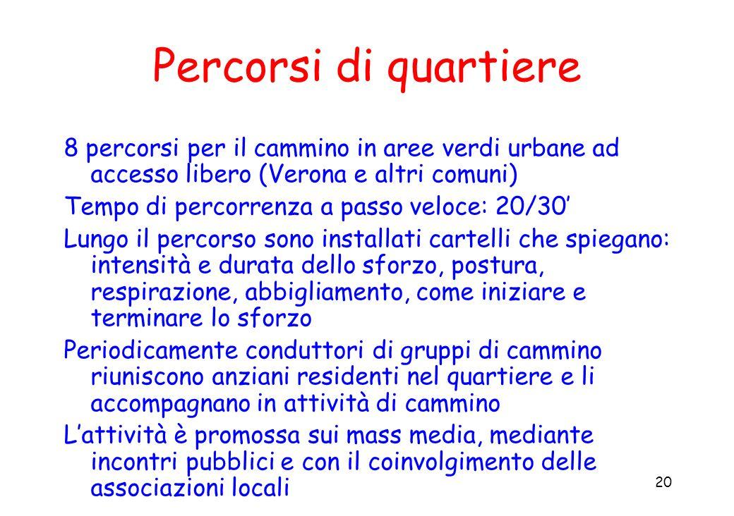 Percorsi di quartiere 8 percorsi per il cammino in aree verdi urbane ad accesso libero (Verona e altri comuni)