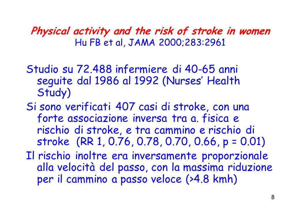 Physical activity and the risk of stroke in women Hu FB et al, JAMA 2000;283:2961