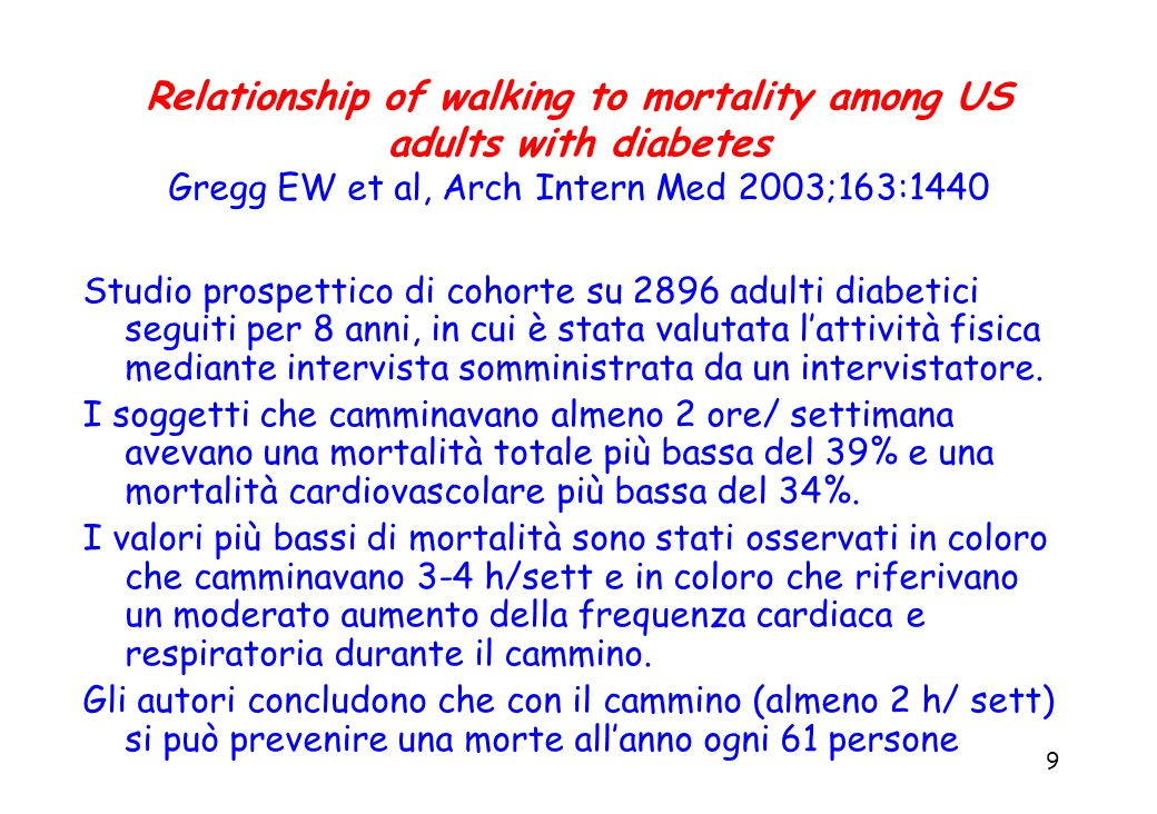 Relationship of walking to mortality among US adults with diabetes Gregg EW et al, Arch Intern Med 2003;163:1440