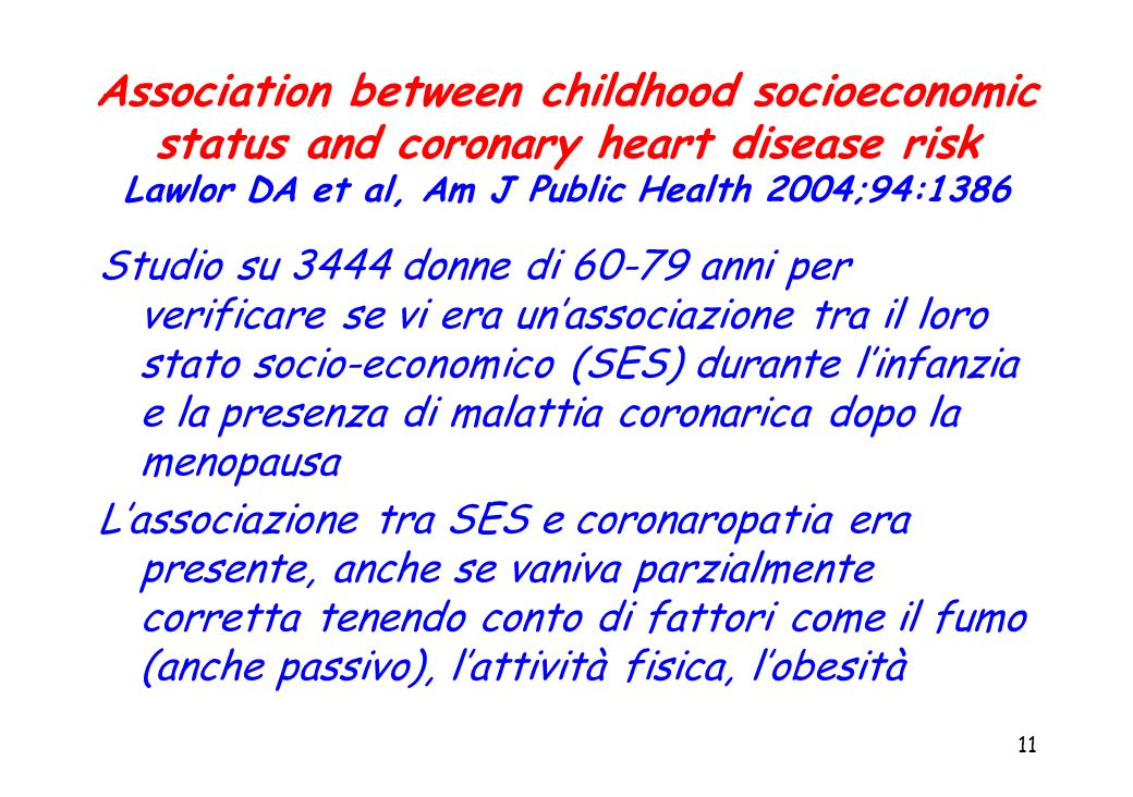 Association between childhood socioeconomic status and coronary heart disease risk Lawlor DA et al, Am J Public Health 2004;94:1386