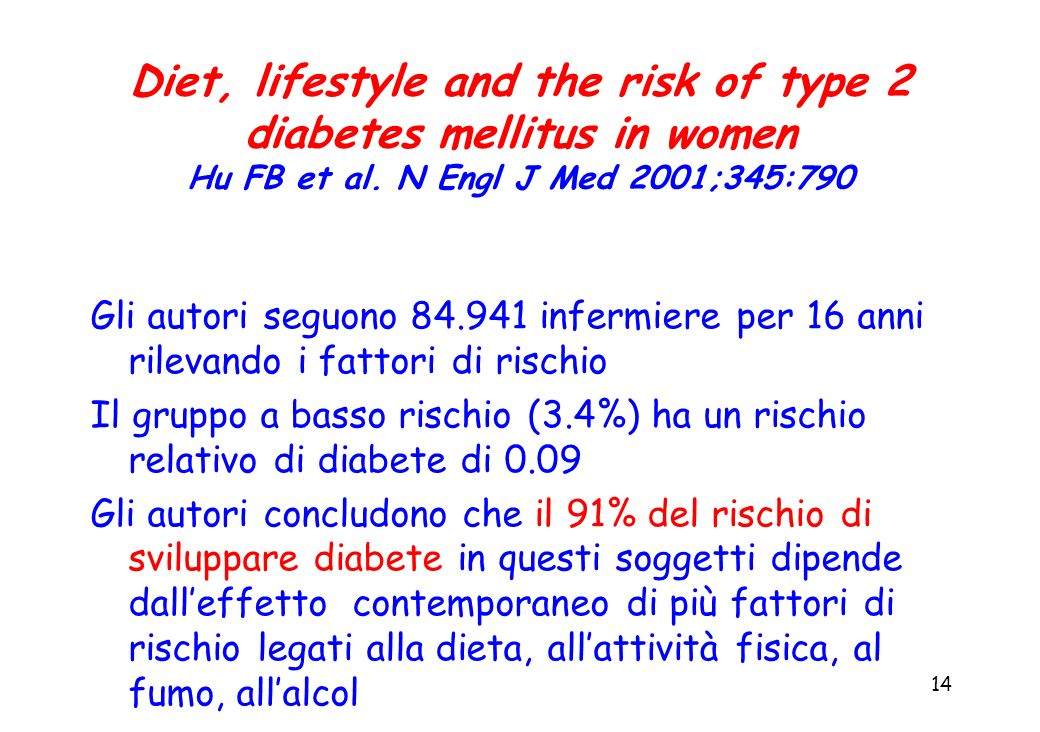 Diet, lifestyle and the risk of type 2 diabetes mellitus in women Hu FB et al. N Engl J Med 2001;345:790