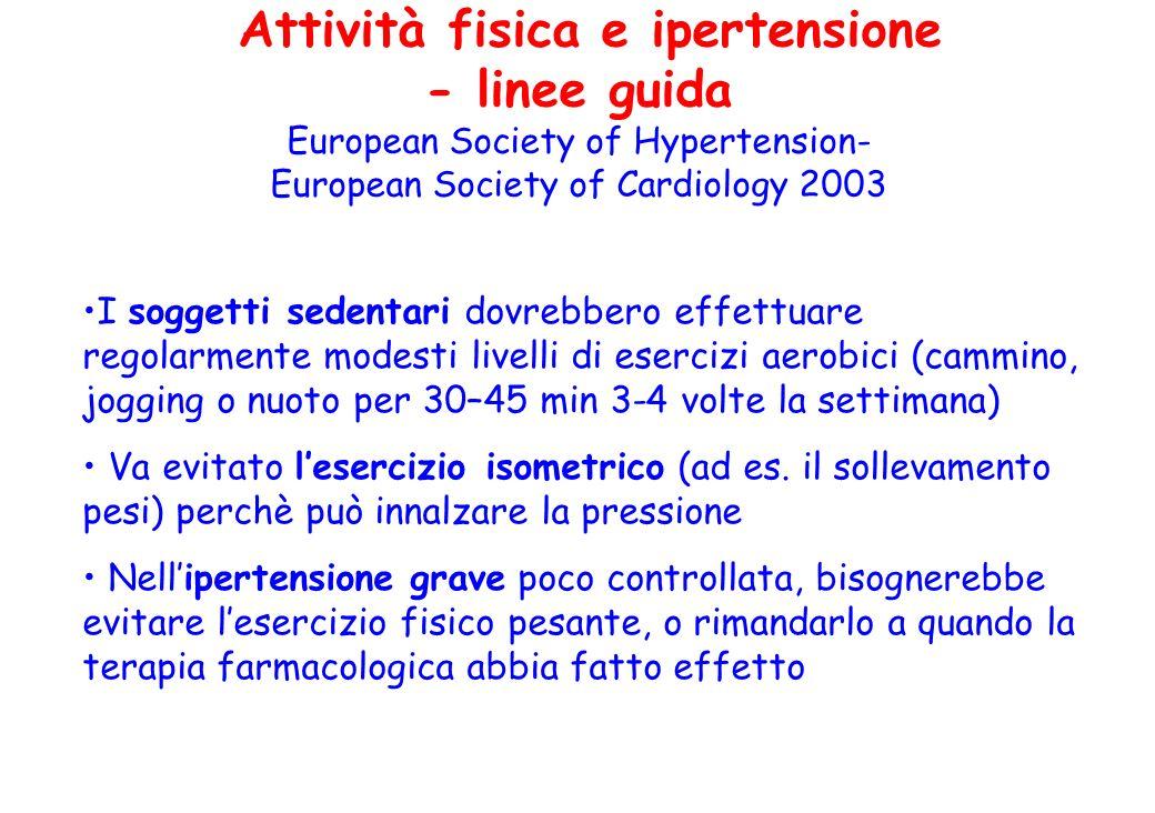 Attività fisica e ipertensione - linee guida European Society of Hypertension- European Society of Cardiology 2003