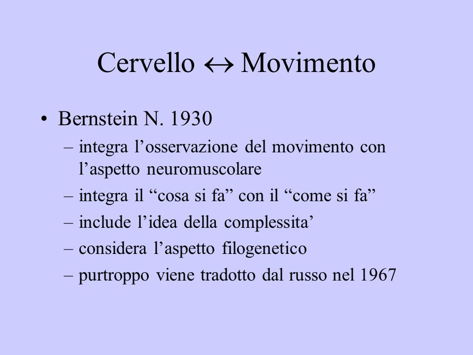 Cervello  Movimento Bernstein N. 1930