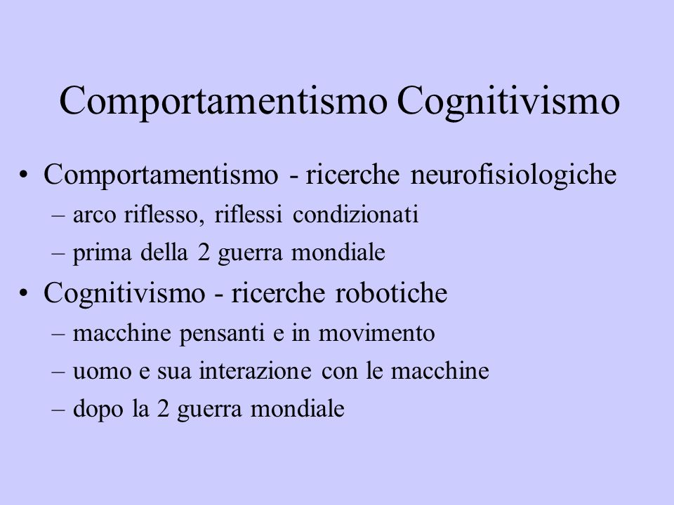 Comportamentismo Cognitivismo