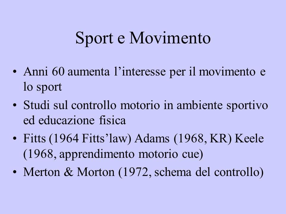 Sport e Movimento Anni 60 aumenta l'interesse per il movimento e lo sport. Studi sul controllo motorio in ambiente sportivo ed educazione fisica.