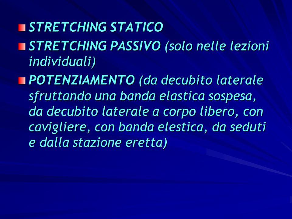 STRETCHING STATICO STRETCHING PASSIVO (solo nelle lezioni individuali)