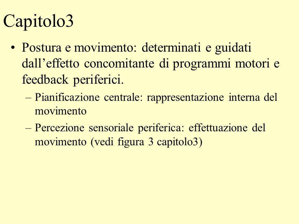 Capitolo3 Postura e movimento: determinati e guidati dall'effetto concomitante di programmi motori e feedback periferici.