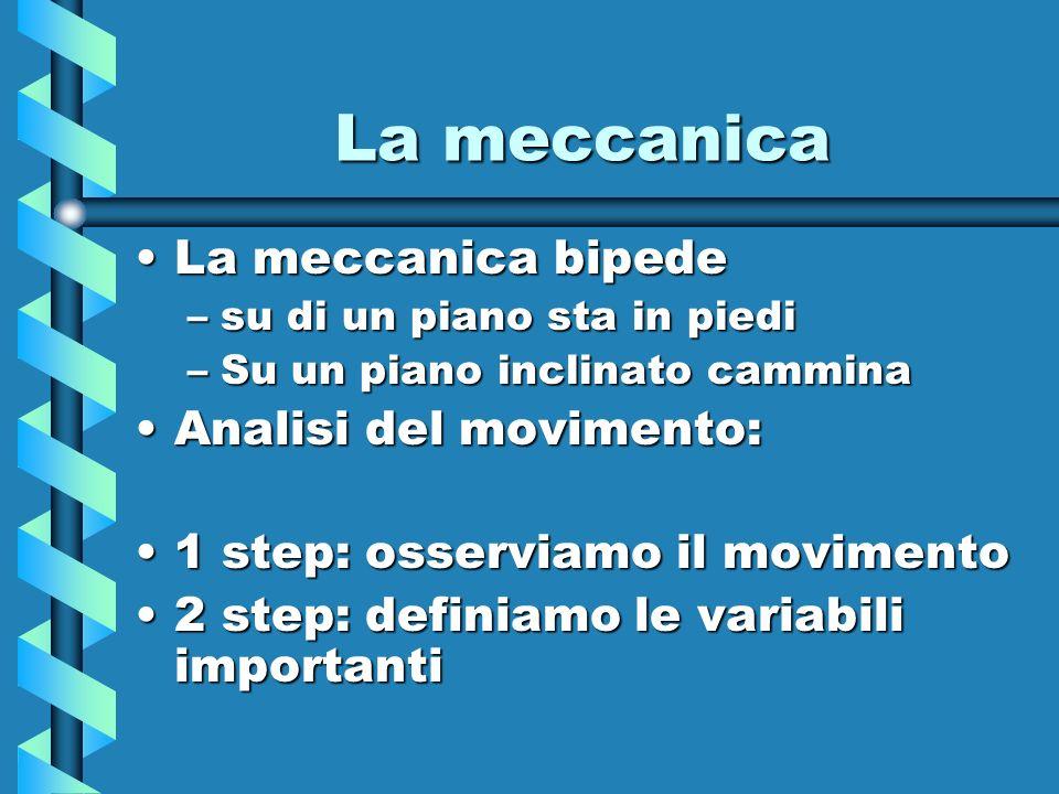 La meccanica La meccanica bipede Analisi del movimento: