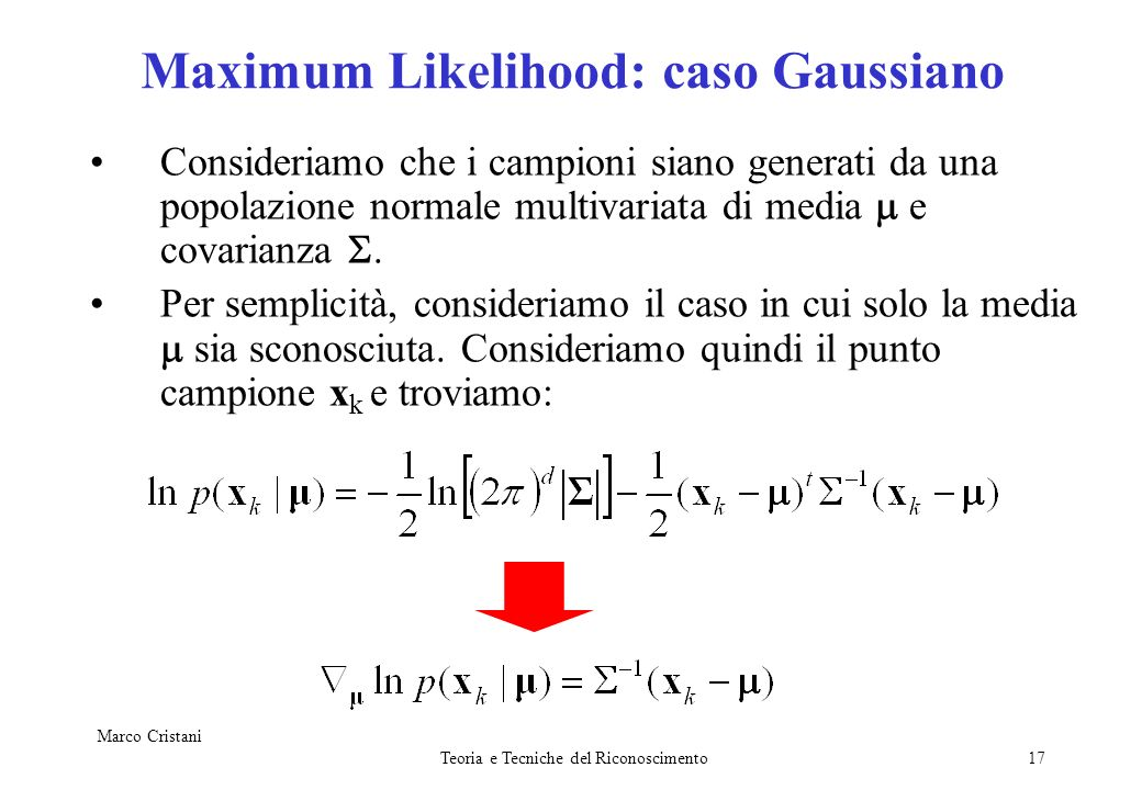 Maximum Likelihood: caso Gaussiano