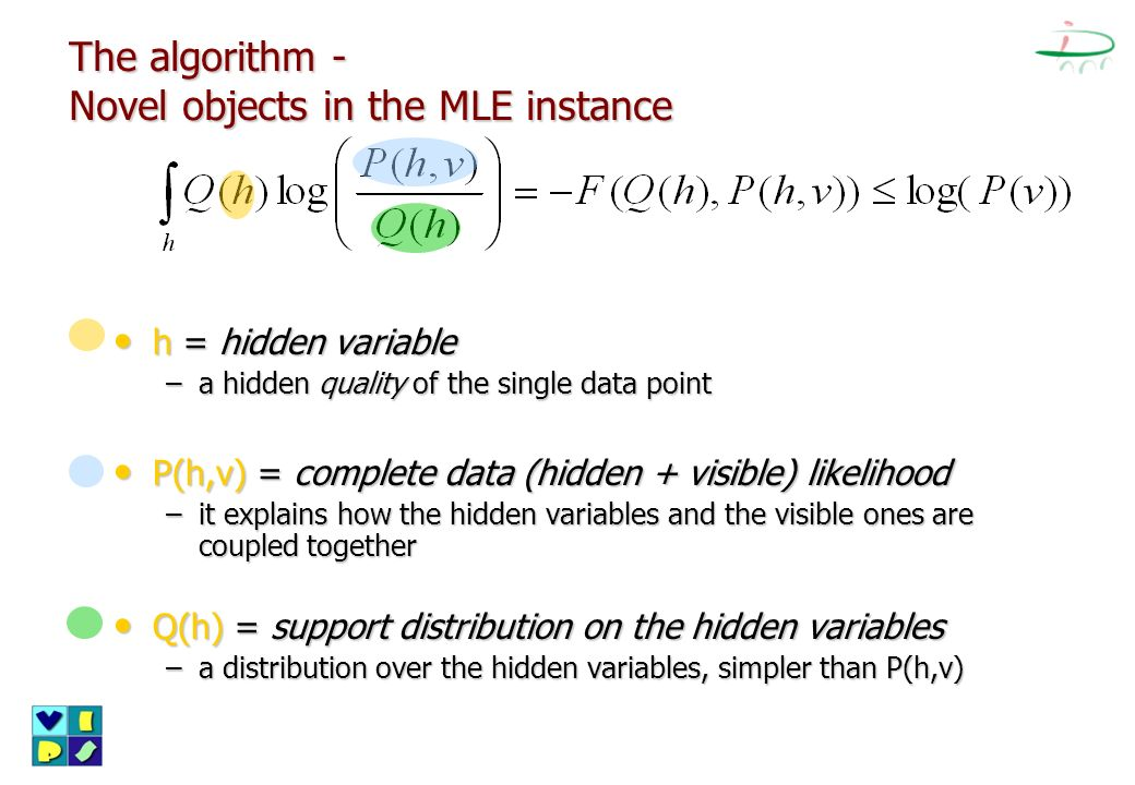 The algorithm - Novel objects in the MLE instance