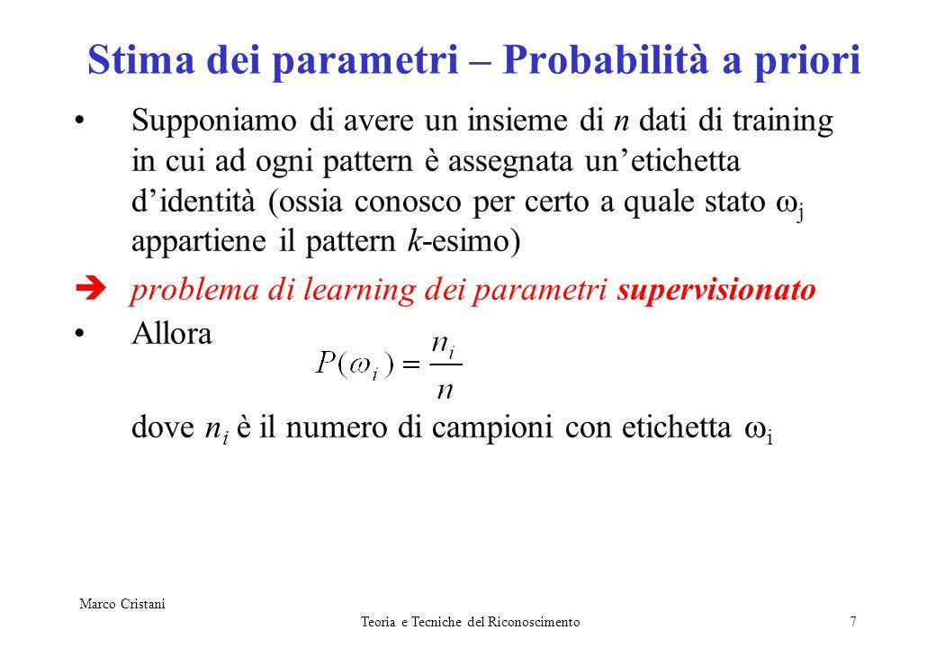 Stima dei parametri – Probabilità a priori