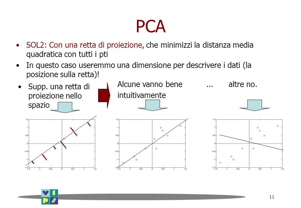 PCASOL2: Con una retta di proiezione, che minimizzi la distanza media quadratica con tutti i pti.