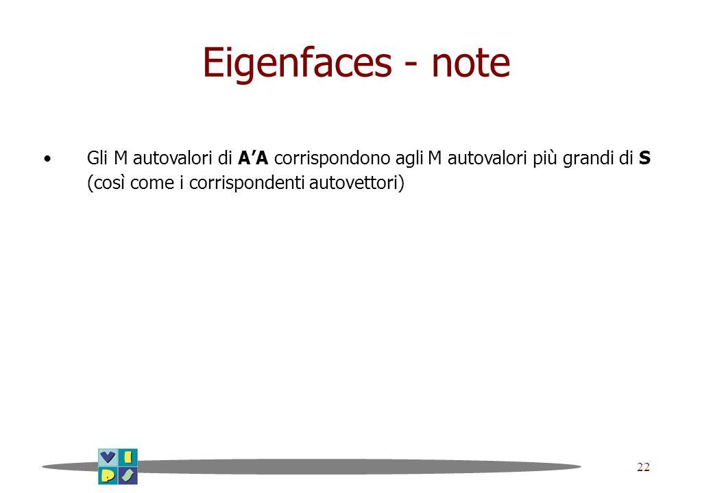 Eigenfaces - note Gli M autovalori di A'A corrispondono agli M autovalori più grandi di S (così come i corrispondenti autovettori)