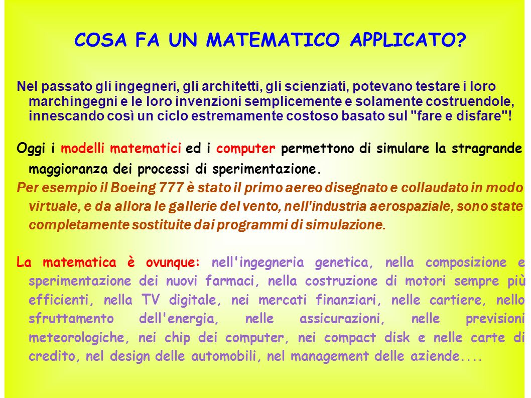 COSA FA UN MATEMATICO APPLICATO