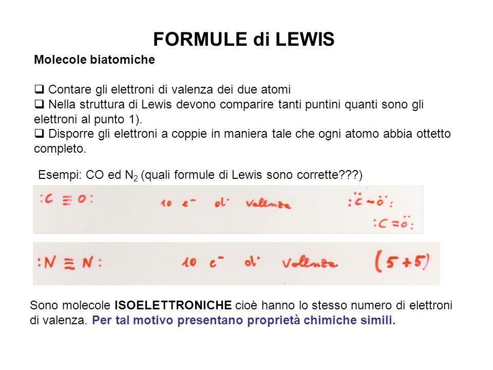 FORMULE di LEWIS Molecole biatomiche