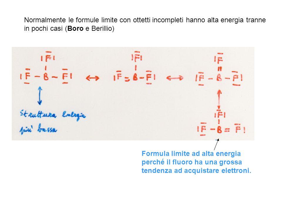 Normalmente le formule limite con ottetti incompleti hanno alta energia tranne in pochi casi (Boro e Berillio)