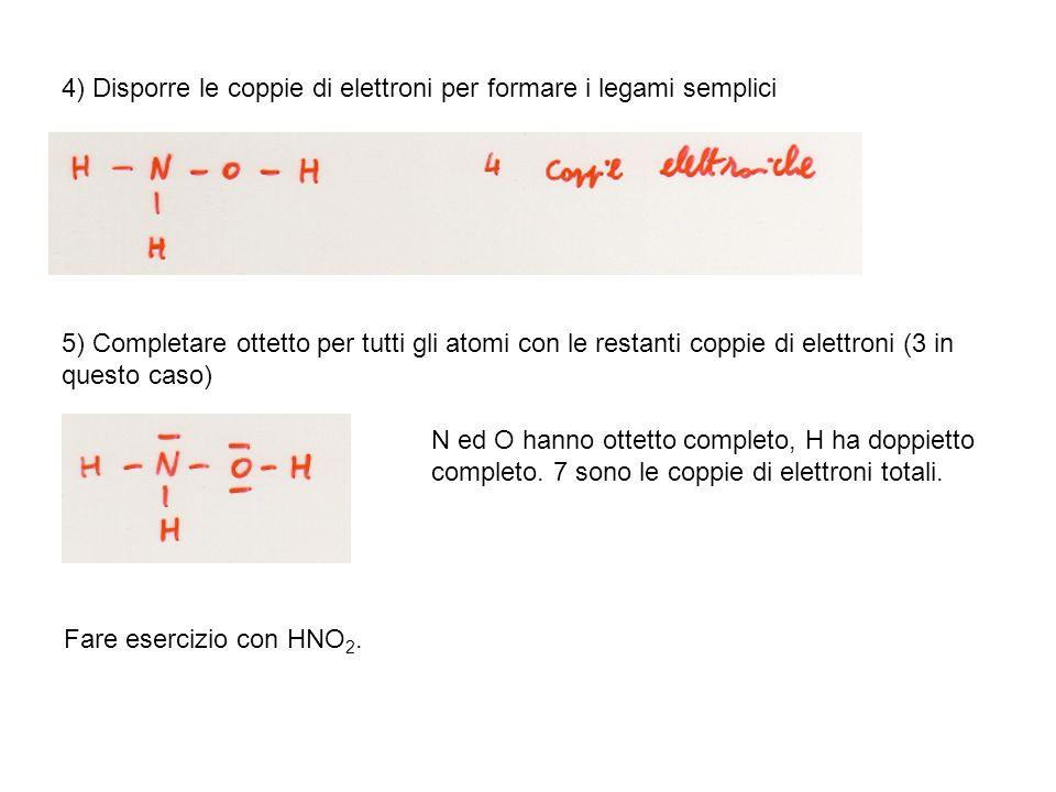 4) Disporre le coppie di elettroni per formare i legami semplici