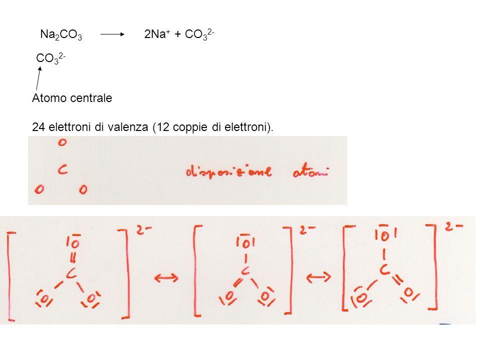 Na2CO3 2Na+ + CO32- CO32- Atomo centrale 24 elettroni di valenza (12 coppie di elettroni).